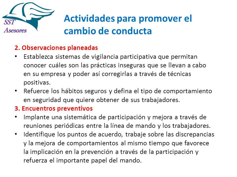 Actividades para promover el cambio de conducta