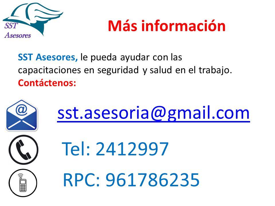 Tel: 2412997 RPC: 961786235 sst.asesoria@gmail.com Más información