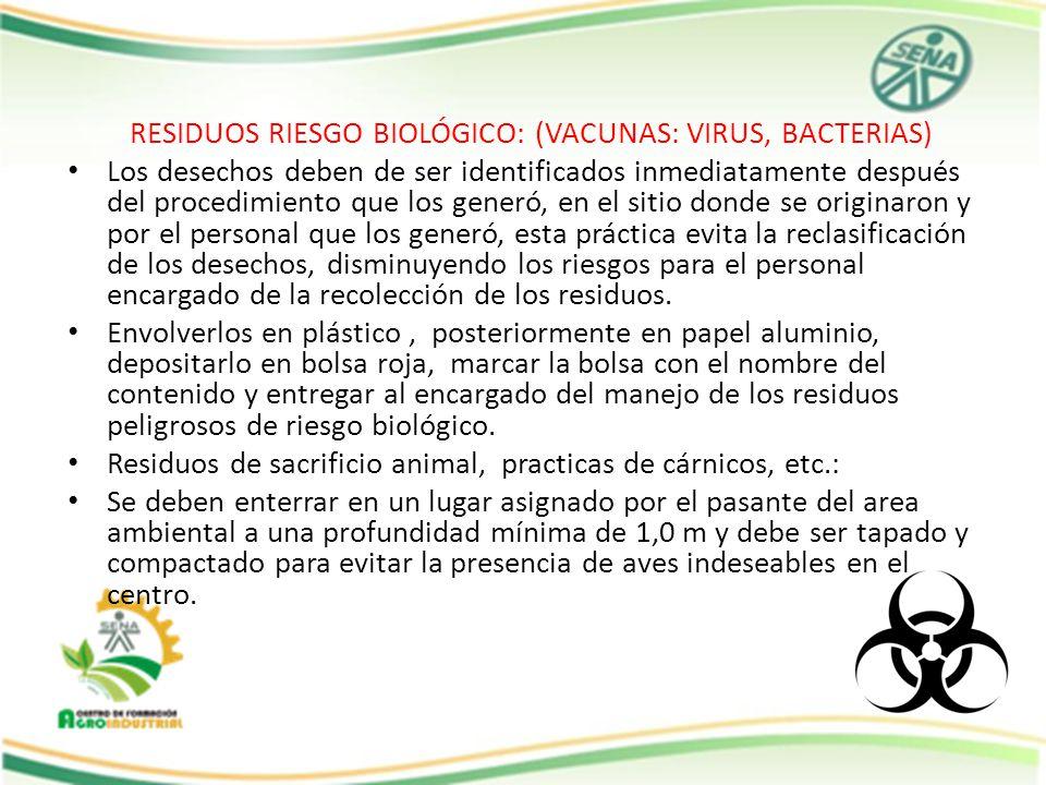 RESIDUOS RIESGO BIOLÓGICO: (VACUNAS: VIRUS, BACTERIAS)