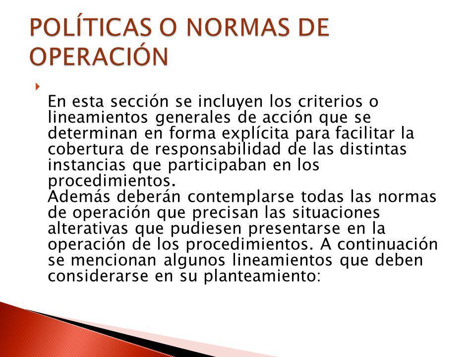 POLÍTICAS O NORMAS DE OPERACIÓN