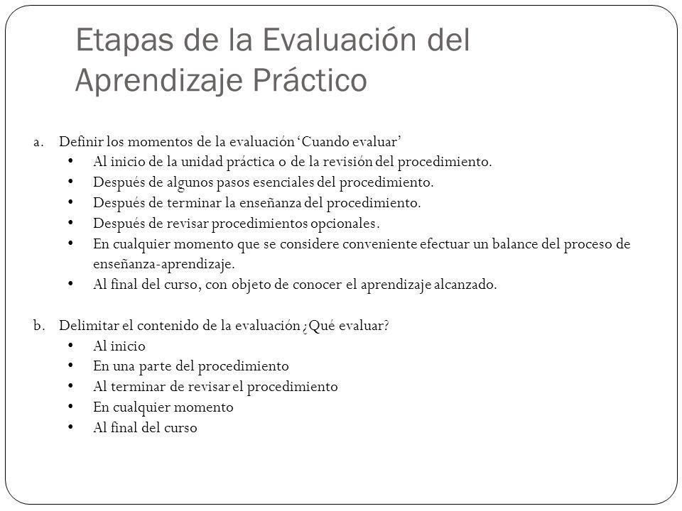 Etapas de la Evaluación del Aprendizaje Práctico