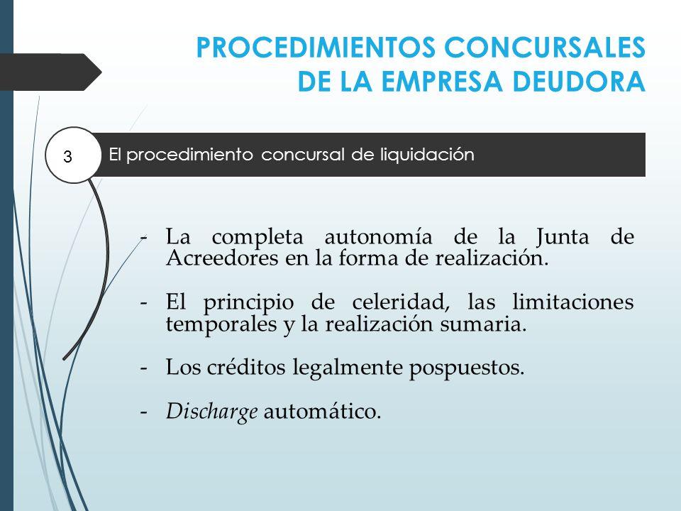 PROCEDIMIENTOS CONCURSALES DE LA EMPRESA DEUDORA