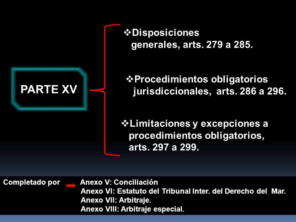 PARTE XV Disposiciones generales, arts. 279 a 285.