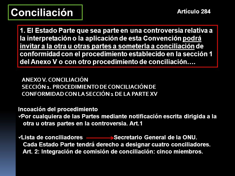 Conciliación Artículo 284.