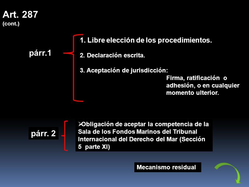 Art. 287 (cont.) 1. Libre elección de los procedimientos. párr.1. 2. Declaración escrita. 3. Aceptación de jurisdicción: