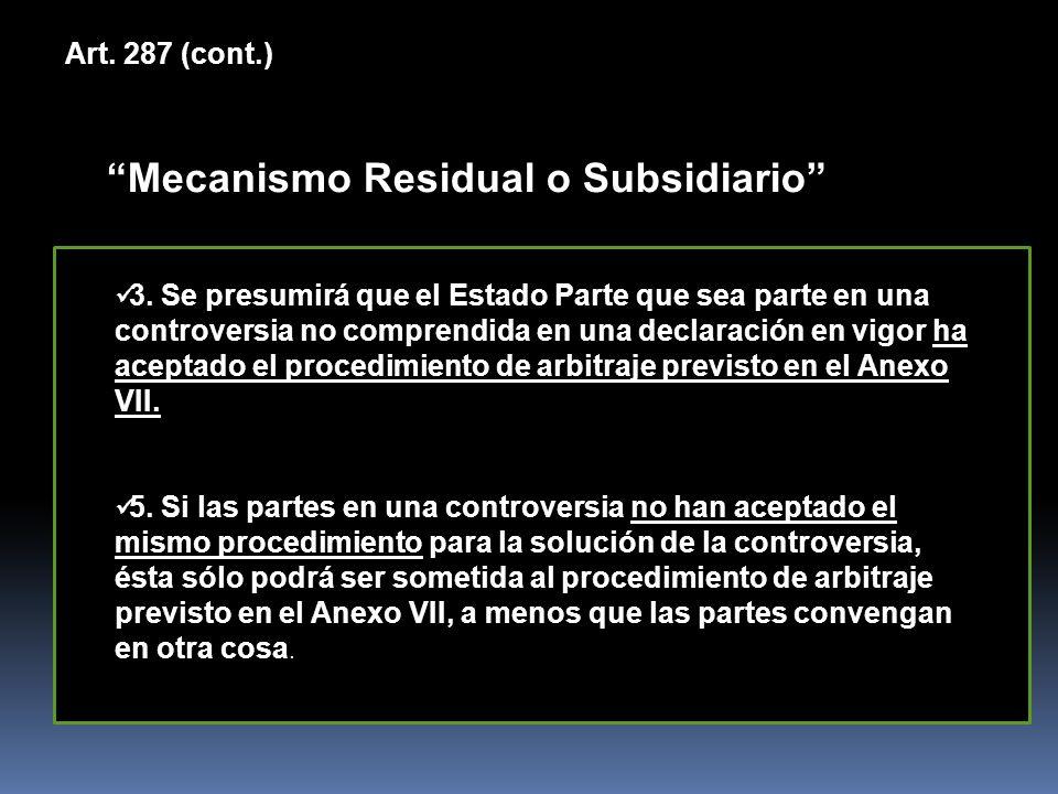 Mecanismo Residual o Subsidiario