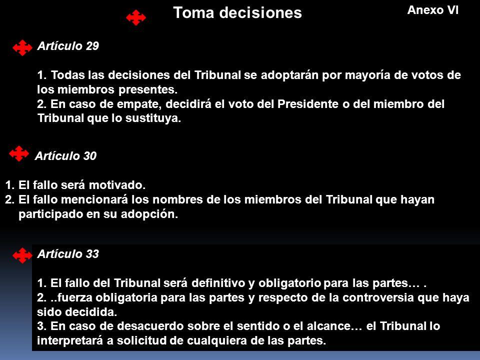 Toma decisiones Anexo VI Artículo 29