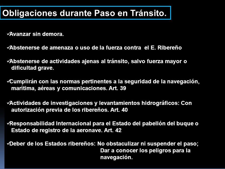Obligaciones durante Paso en Tránsito.