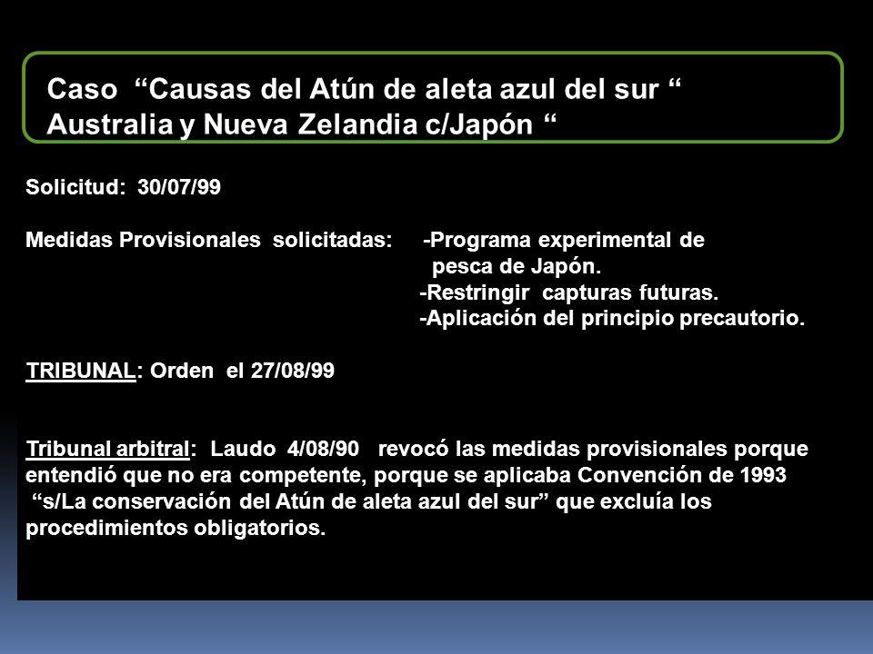 Caso Causas del Atún de aleta azul del sur Australia y Nueva Zelandia c/Japón