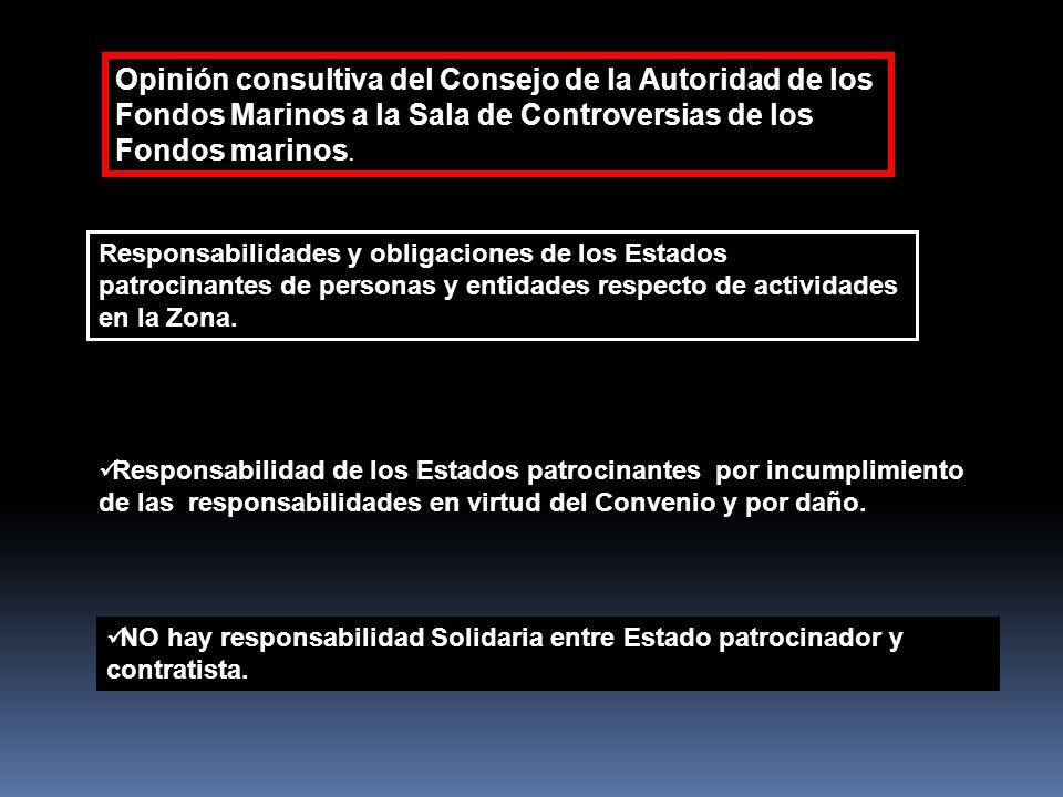 Opinión consultiva del Consejo de la Autoridad de los Fondos Marinos a la Sala de Controversias de los Fondos marinos.