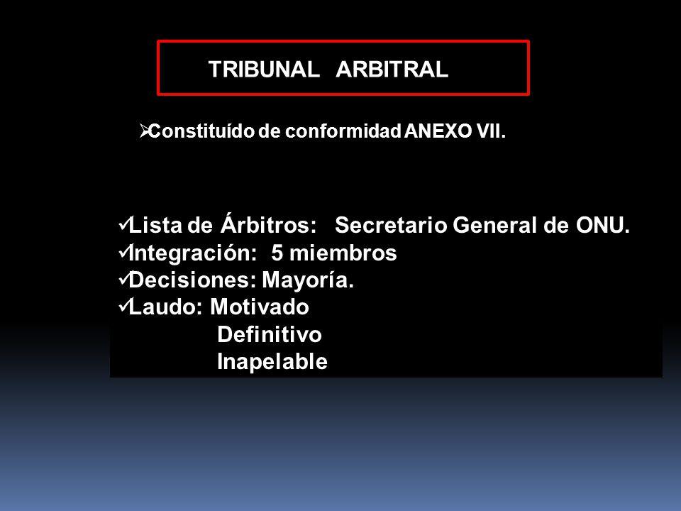 Lista de Árbitros: Secretario General de ONU. Integración: 5 miembros