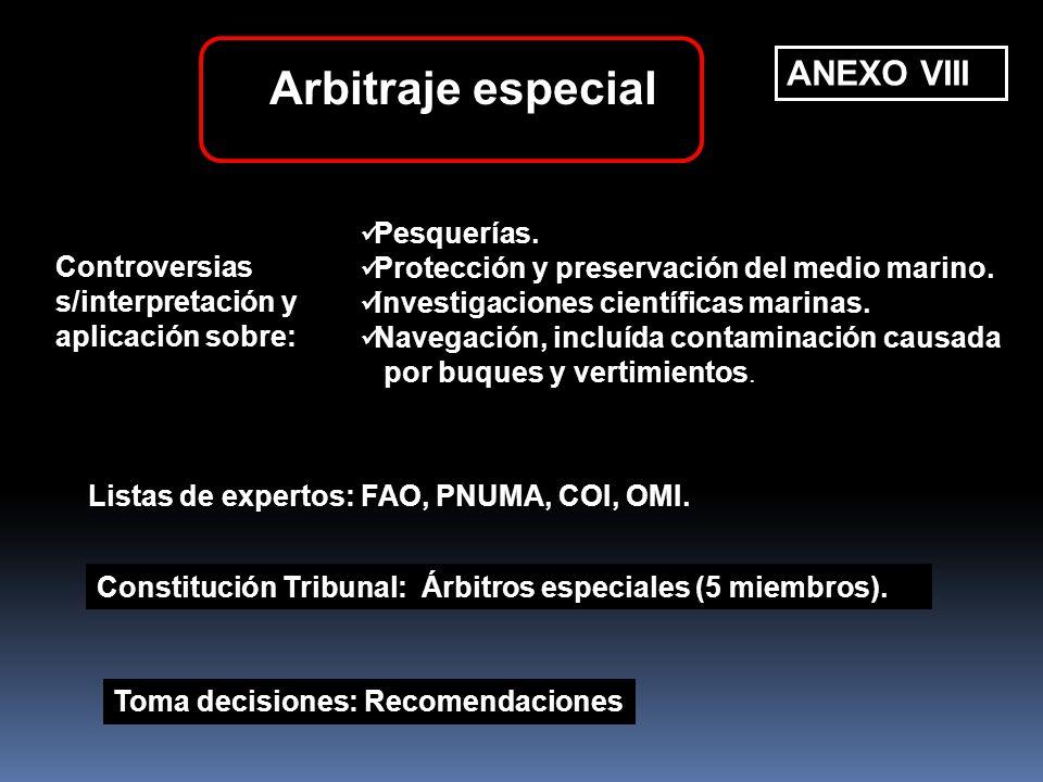 Arbitraje especial ANEXO VIII Pesquerías.