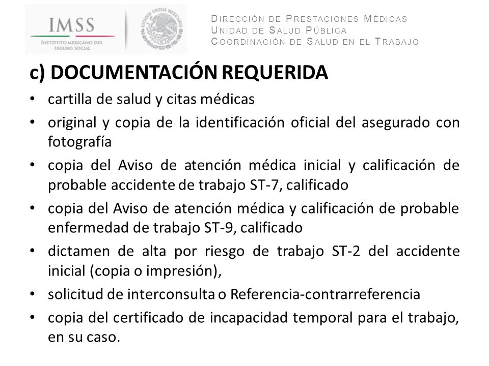 c) DOCUMENTACIÓN REQUERIDA