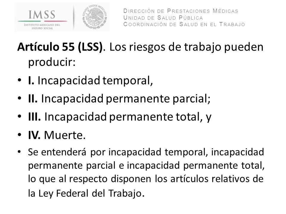 Artículo 55 (LSS). Los riesgos de trabajo pueden producir: