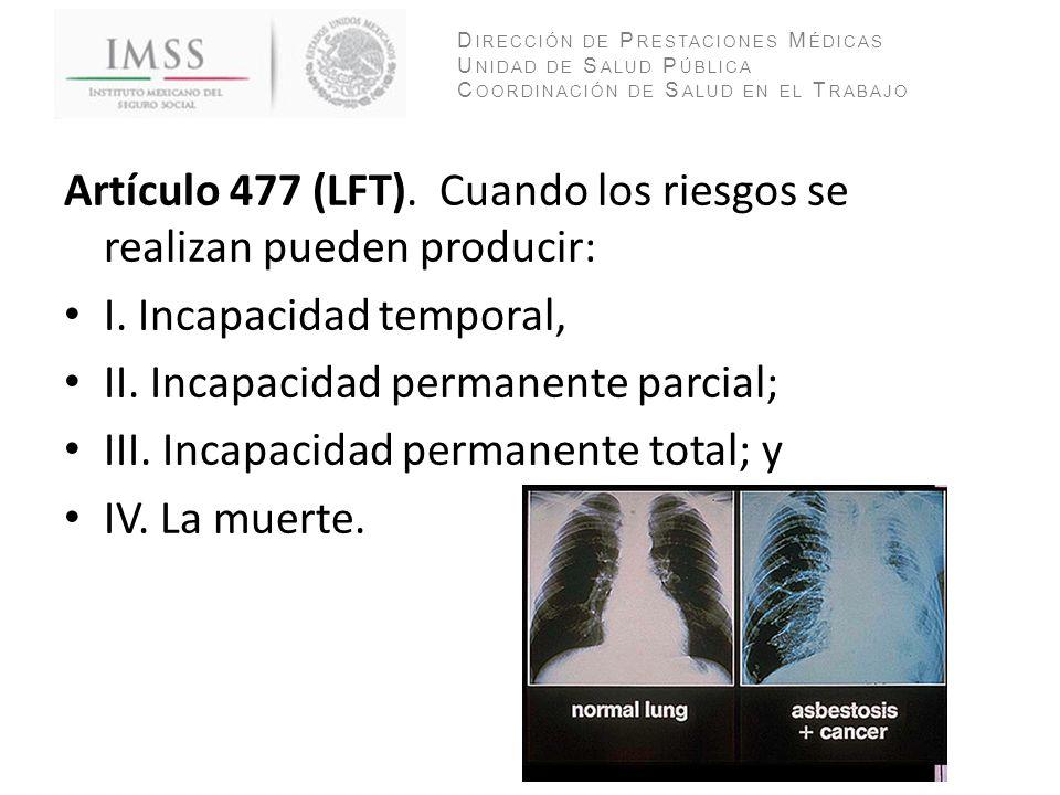 Artículo 477 (LFT). Cuando los riesgos se realizan pueden producir: