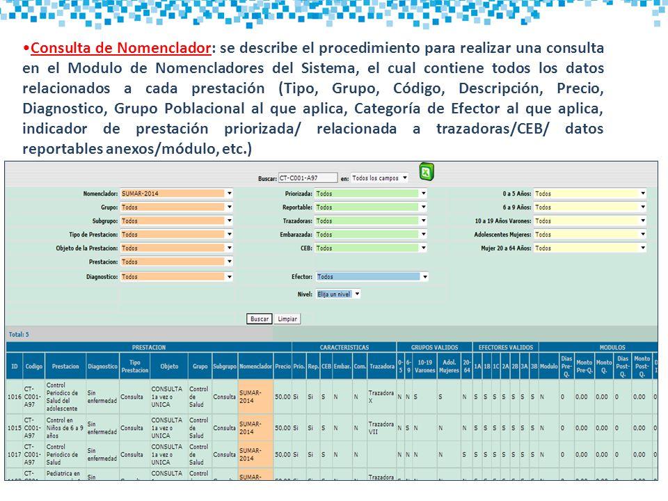Consulta de Nomenclador: se describe el procedimiento para realizar una consulta en el Modulo de Nomencladores del Sistema, el cual contiene todos los datos relacionados a cada prestación (Tipo, Grupo, Código, Descripción, Precio, Diagnostico, Grupo Poblacional al que aplica, Categoría de Efector al que aplica, indicador de prestación priorizada/ relacionada a trazadoras/CEB/ datos reportables anexos/módulo, etc.)