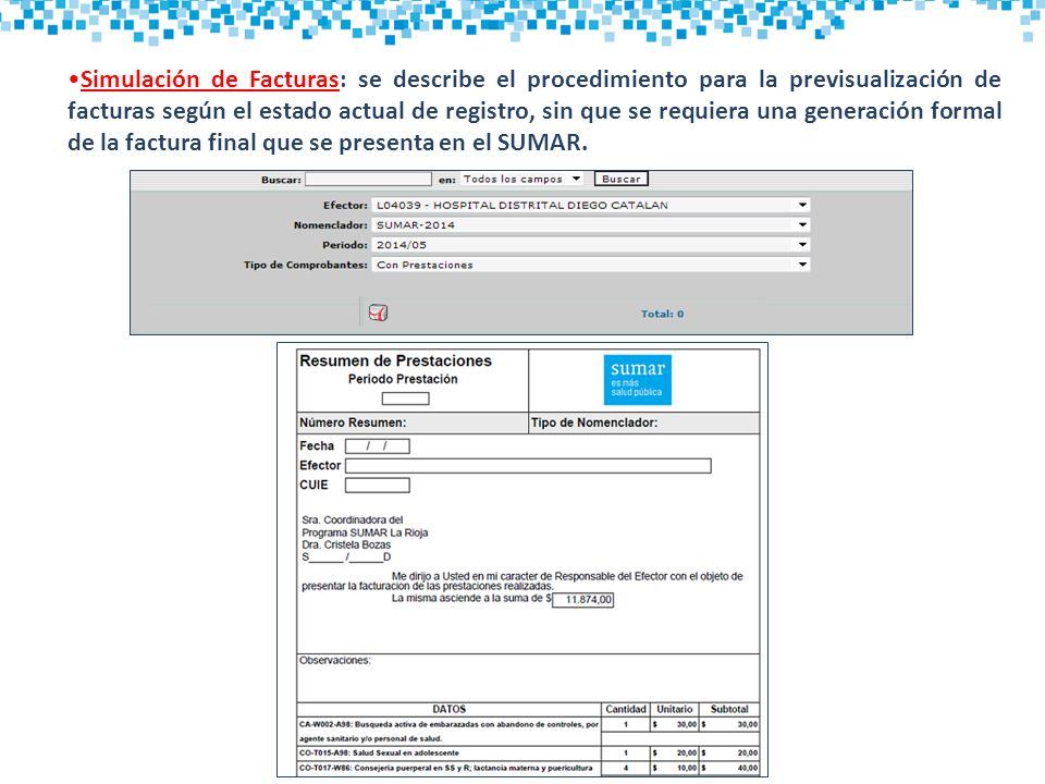 Simulación de Facturas: se describe el procedimiento para la previsualización de facturas según el estado actual de registro, sin que se requiera una generación formal de la factura final que se presenta en el SUMAR.