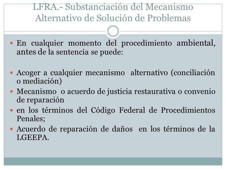 LFRA.- Substanciación del Mecanismo Alternativo de Solución de Problemas