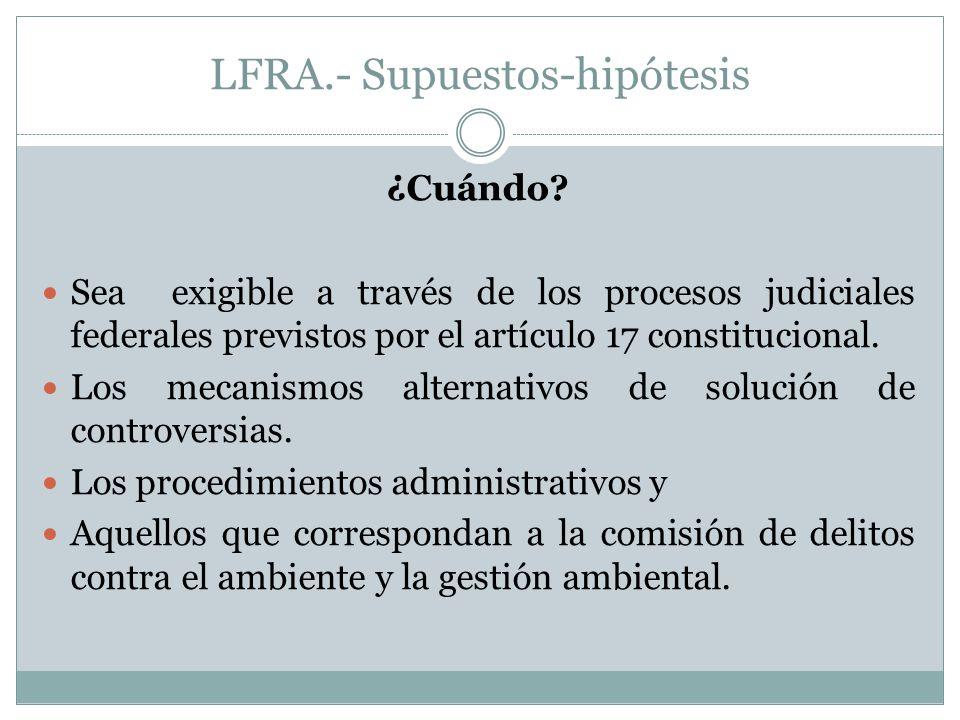 LFRA.- Supuestos-hipótesis