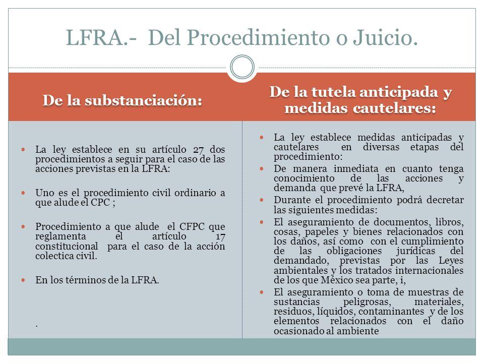 LFRA.- Del Procedimiento o Juicio.