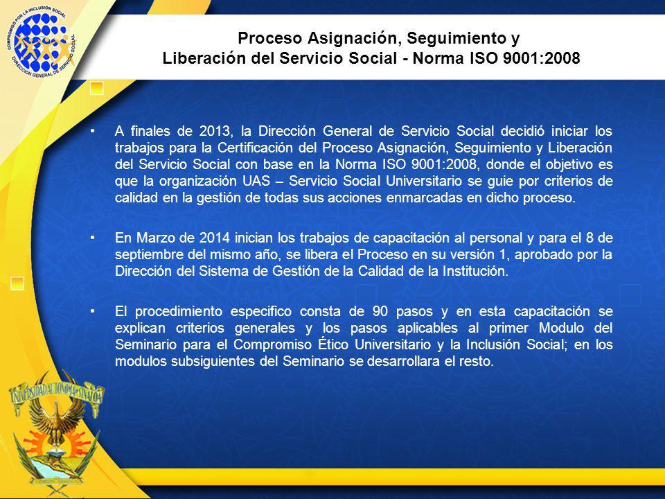 Proceso Asignación, Seguimiento y Liberación del Servicio Social - Norma ISO 9001:2008