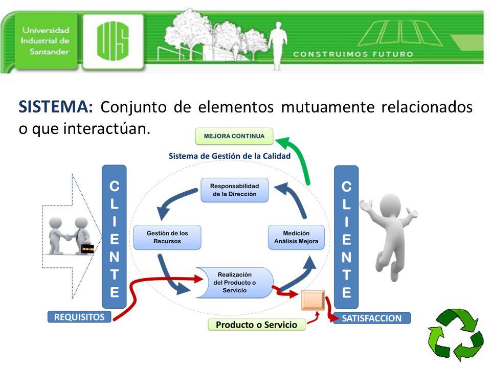 SISTEMA: Conjunto de elementos mutuamente relacionados o que interactúan.