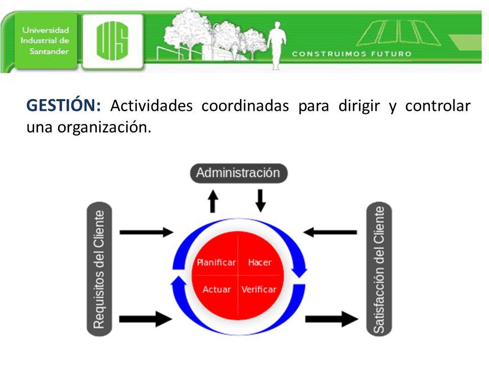 GESTIÓN: Actividades coordinadas para dirigir y controlar una organización.