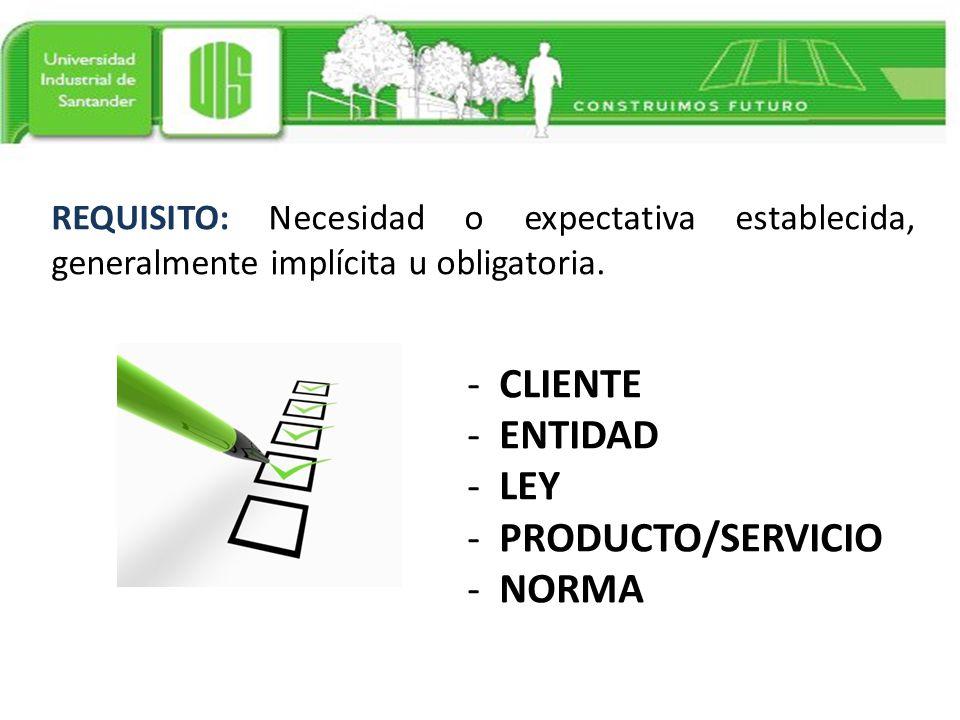 CLIENTE ENTIDAD LEY PRODUCTO/SERVICIO NORMA