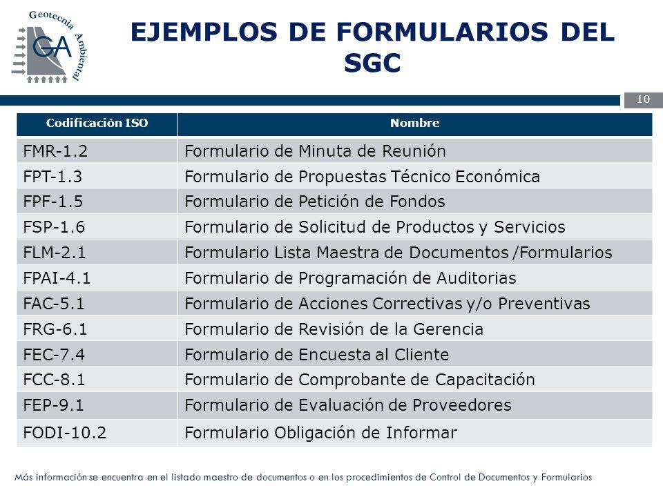 EJEMPLOS DE FORMULARIOS DEL SGC