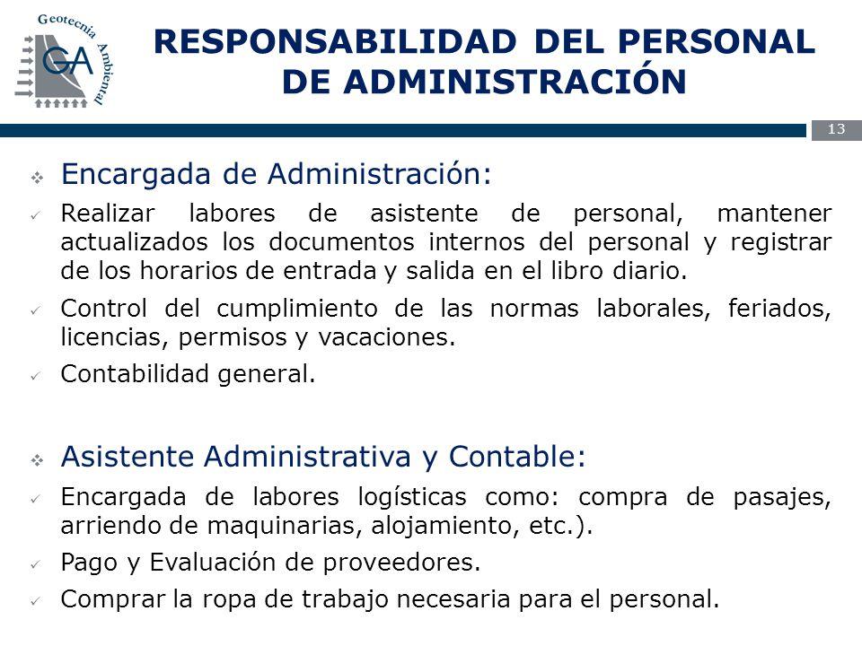 RESPONSABILIDAD DEL PERSONAL DE ADMINISTRACIÓN