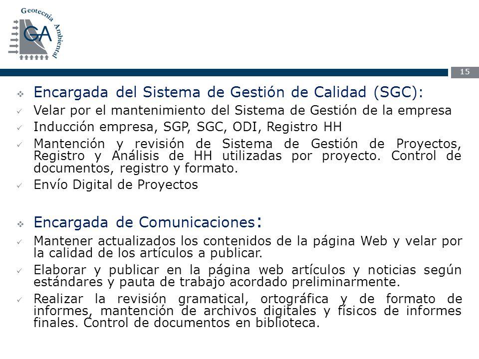 Encargada del Sistema de Gestión de Calidad (SGC):