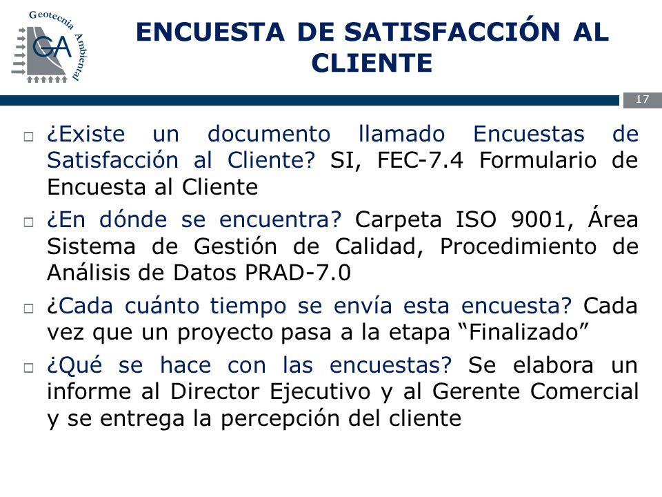 ENCUESTA DE SATISFACCIÓN AL CLIENTE