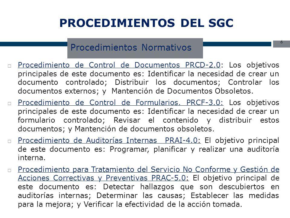 PROCEDIMIENTOS DEL SGC