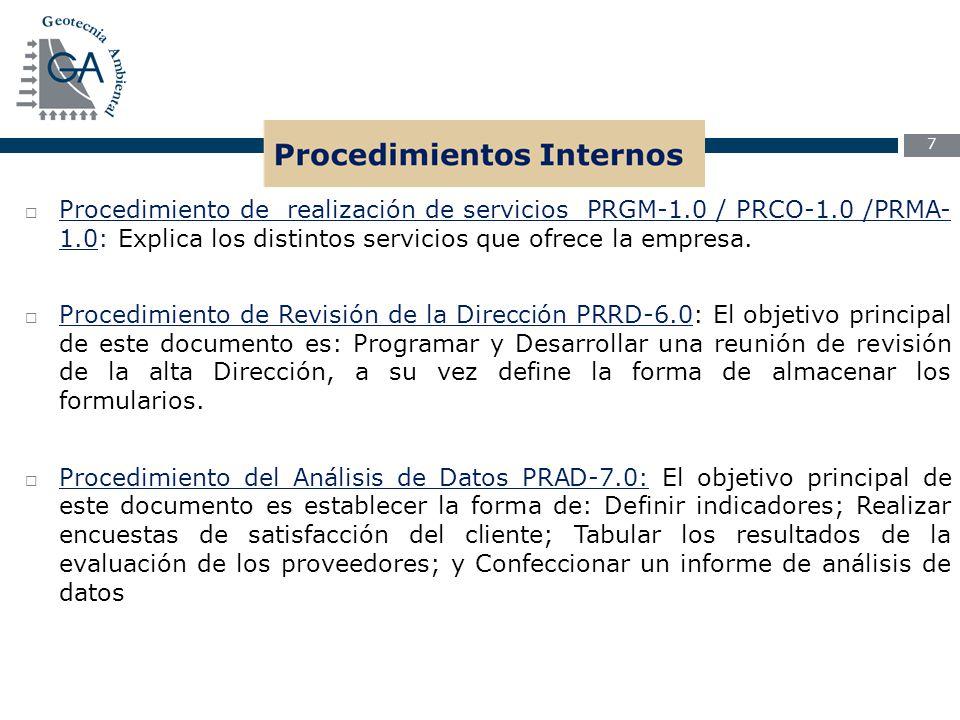 Procedimiento de realización de servicios PRGM-1. 0 / PRCO-1
