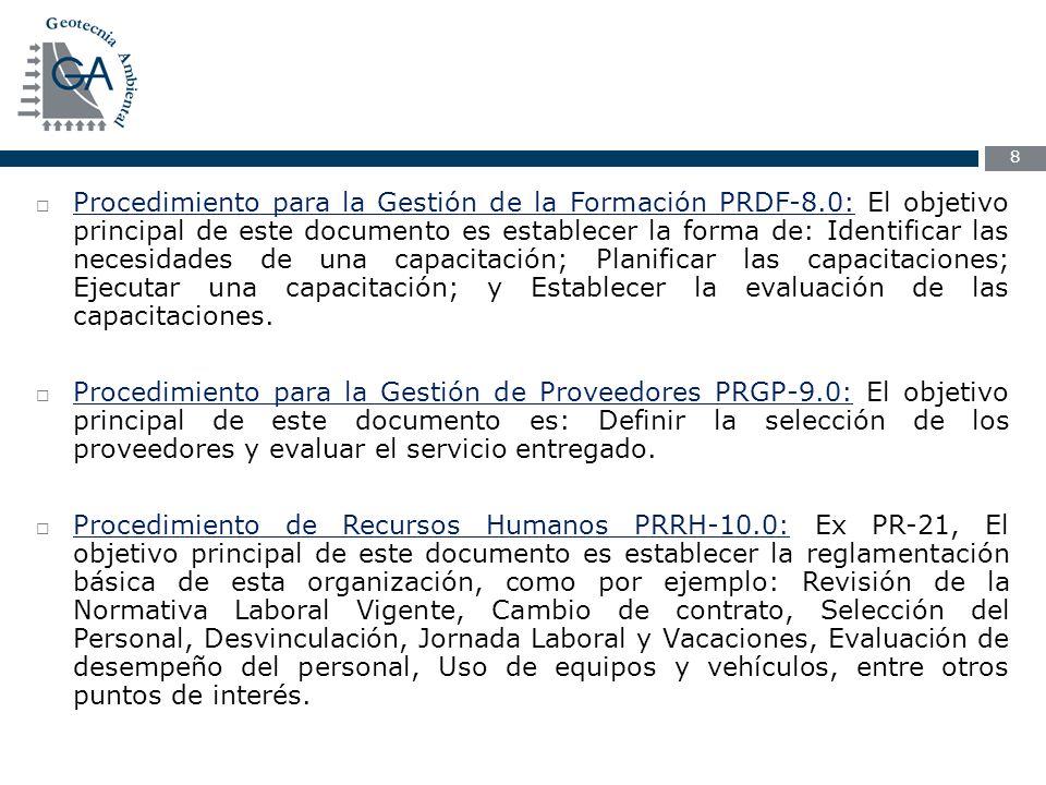 Procedimiento para la Gestión de la Formación PRDF-8