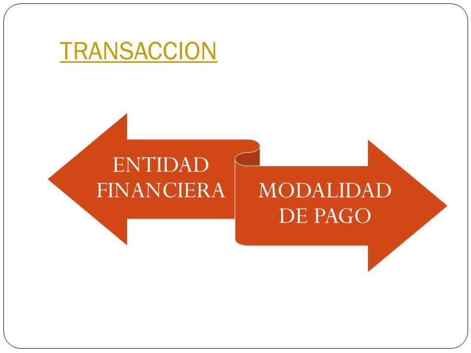 TRANSACCION ENTIDAD FINANCIERA MODALIDAD DE PAGO