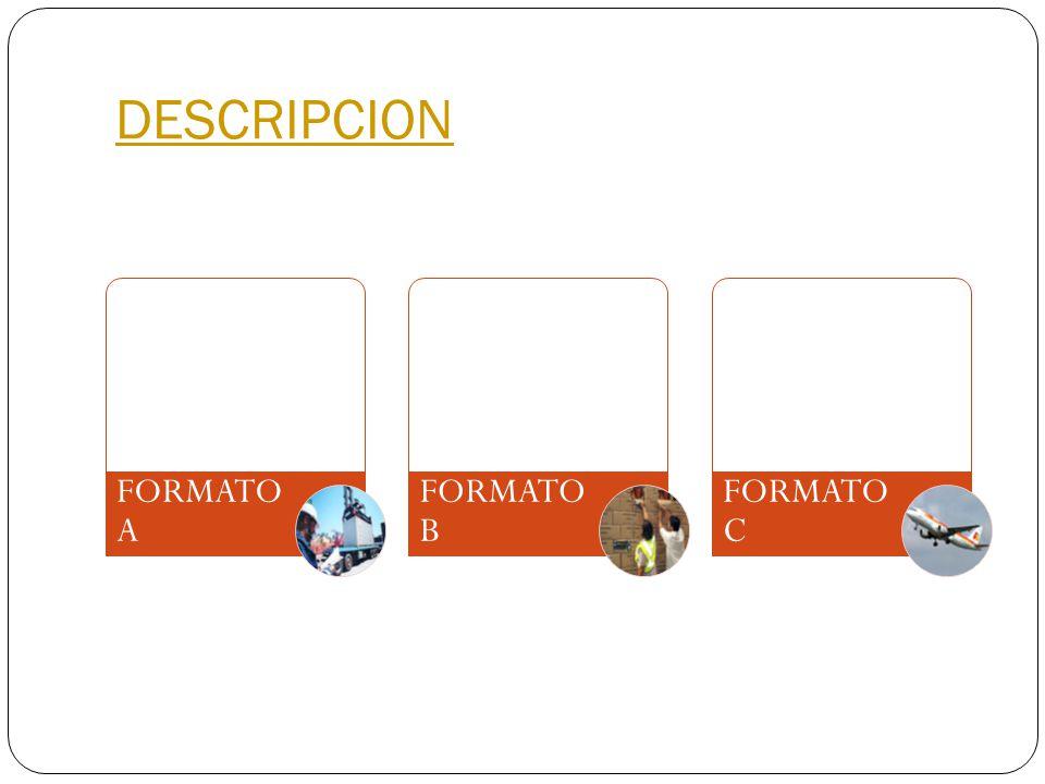 DESCRIPCION FORMATO A FORMATO B FORMATO C