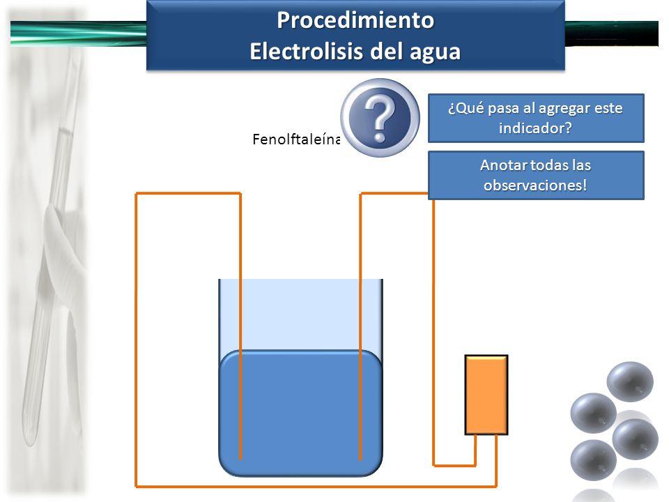 Procedimiento Electrolisis del agua
