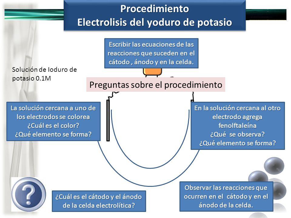 Electrolisis del yoduro de potasio