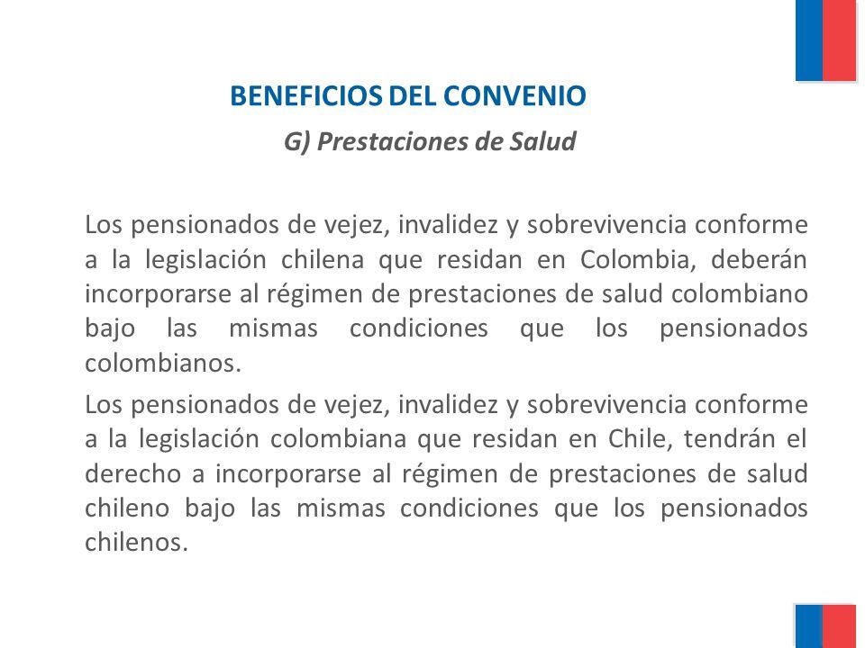BENEFICIOS DEL CONVENIO G) Prestaciones de Salud