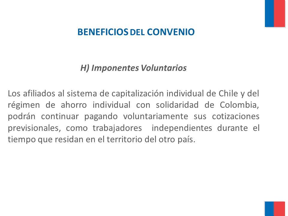 BENEFICIOS DEL CONVENIO H) Imponentes Voluntarios