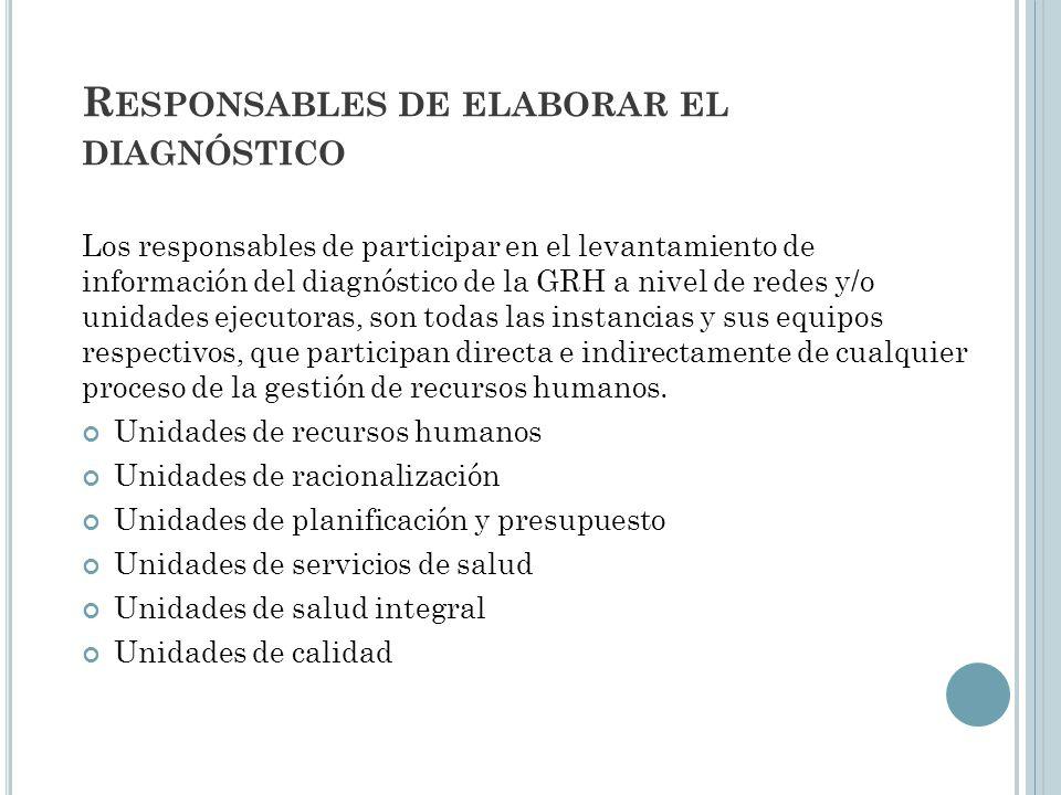 Responsables de elaborar el diagnóstico