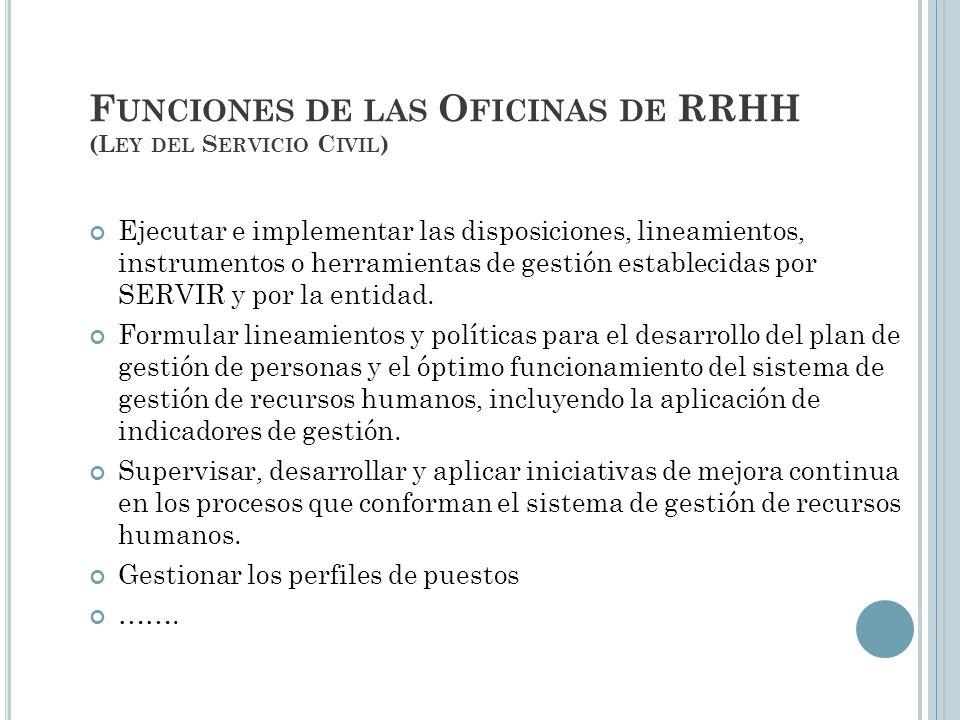 Funciones de las Oficinas de RRHH (Ley del Servicio Civil)