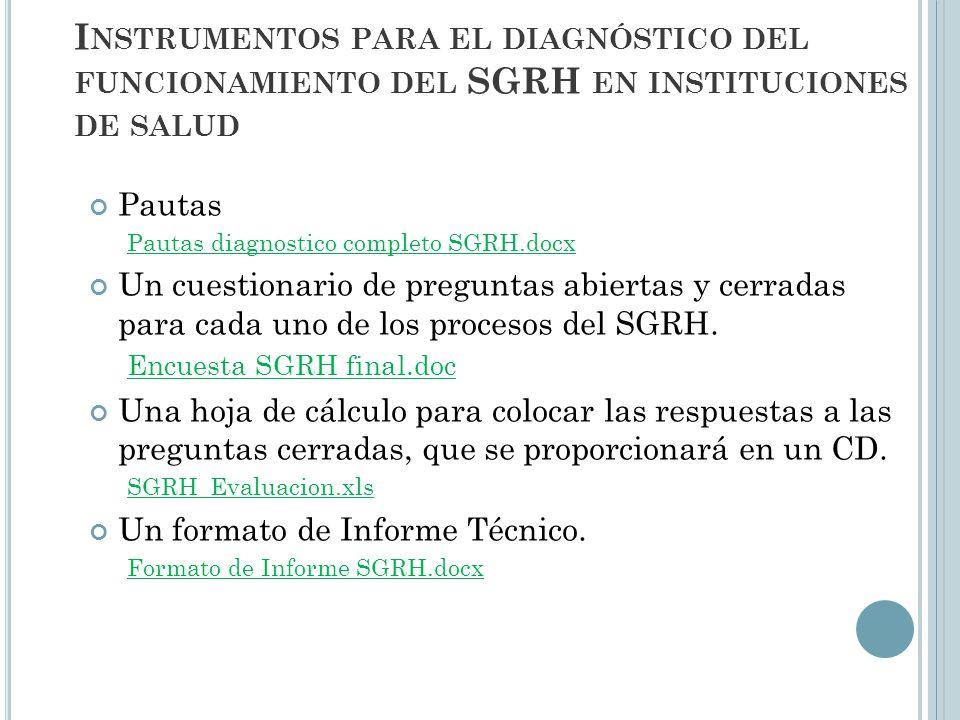 Instrumentos para el diagnóstico del funcionamiento del SGRH en instituciones de salud