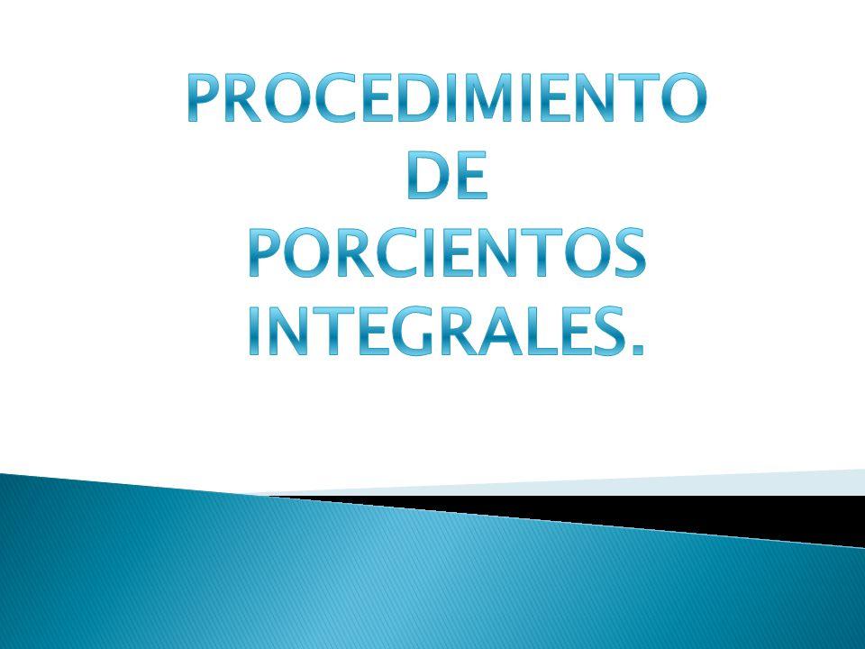 PROCEDIMIENTO DE PORCIENTOS INTEGRALES.