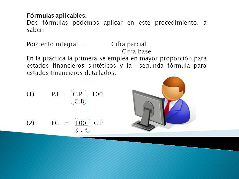 Fórmulas aplicables. Dos fórmulas podemos aplicar en este procedimiento, a saber: