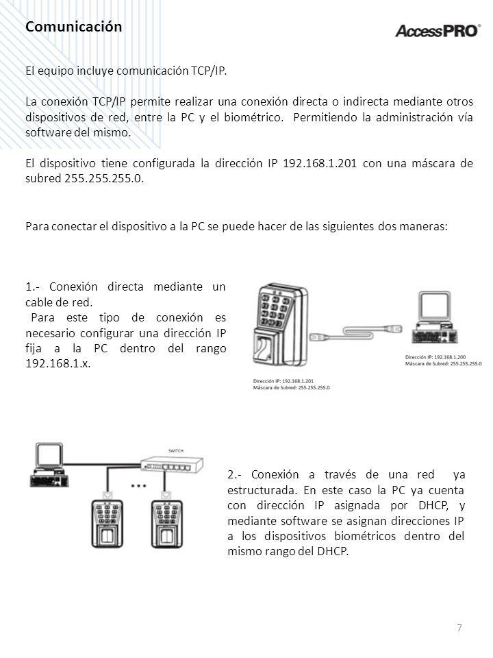 Comunicación El equipo incluye comunicación TCP/IP.