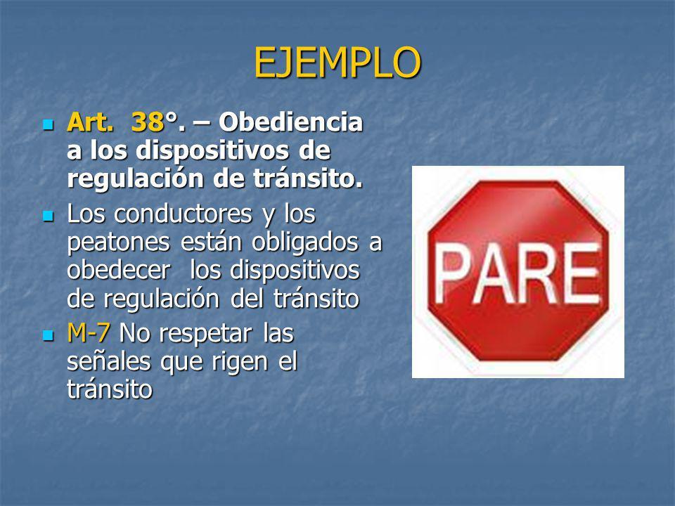 EJEMPLO Art. 38°. – Obediencia a los dispositivos de regulación de tránsito.