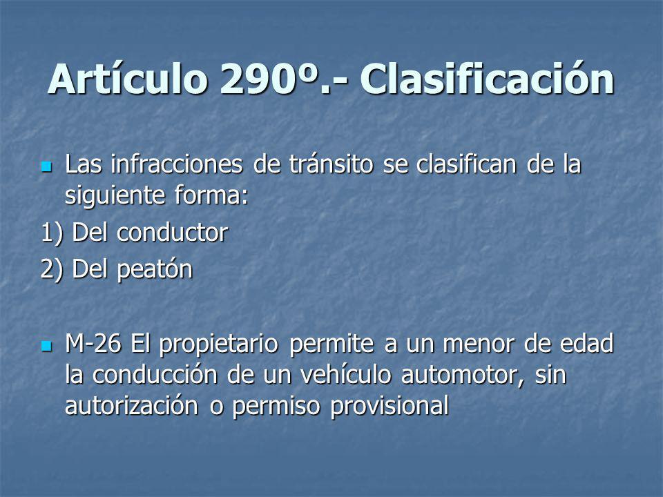 Artículo 290º.- Clasificación