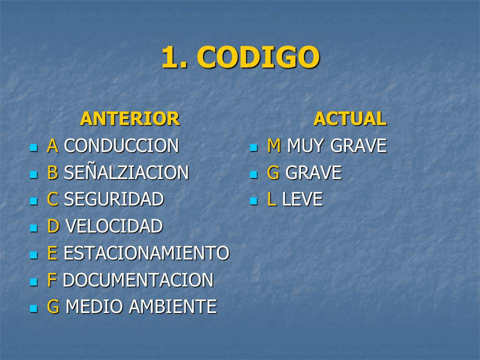 1. CODIGO ANTERIOR A CONDUCCION B SEÑALZIACION C SEGURIDAD D VELOCIDAD